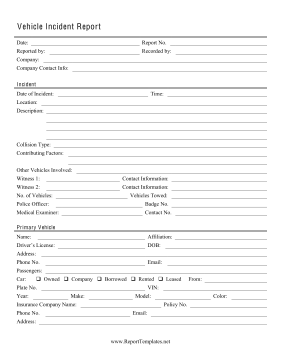 vehicle incident report report template